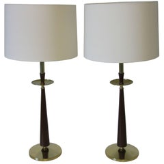 Stiffel Mid-Century Brass and Faux Rosewood Table Lamps