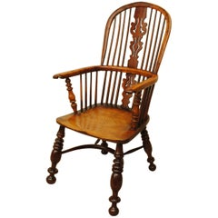 19th Century Yew Wood Window Armchair of Large-Scale