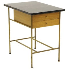 Paul McCobb Irwin Collection for Calvin End Table or Nightstand, Marble, Brass