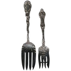 Two Antique Sterling Silver Forks, Floral and Foliate Decorated, 19th Century