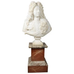 Oversized the Sun King Louis XIV 3/4 Bust Carved Alabaster on Marble Base