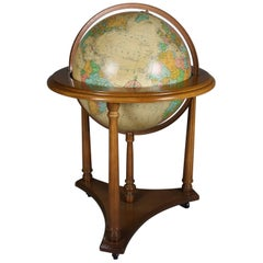 Vintage Illuminating Library World Globe on Floor Stand by Replogle