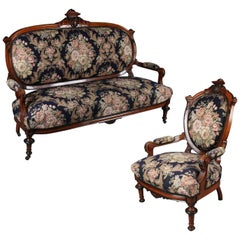 Renaissance Revival Carved Ebonized Mahogany Parlour Settee & Chair, circa 1860