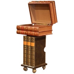 Mid-20th Century French Stack Books Side Table Trunk on Wheels