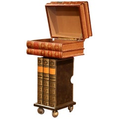 Mid-20th Century French Decorative Stack-Book Side Table on Wheels