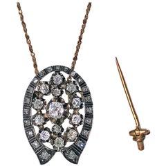 French 19th Century Diamond Brooch Pendant, circa 1870