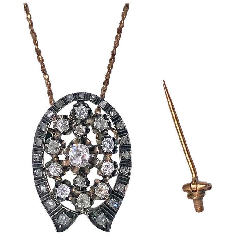 French 19th Century Diamond Brooch Pendant, circa 1870 For Sale