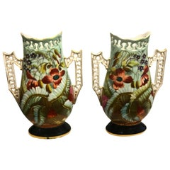 Pair of 19th Century French Porcelain Hand-Painted Vases
