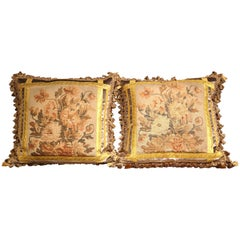 Pair of Pillows Made with 18th Century Aubusson Tapestry, Tassels and Gold Trims