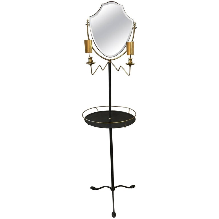 Brass and Galvanized Metal Standing Shaving Stand