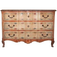 Large Louis XV Styled Painted and Marble Topped Oak Commode