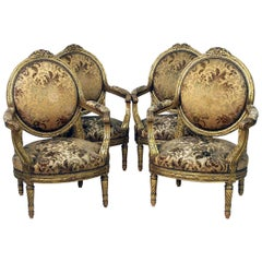 Important Set of Four Late 19th Century Louis XVI Style Giltwood Armchairs