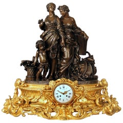 Exceptional Late 19th Century Gilt and Patinated Bronze Figural Clock by Denière