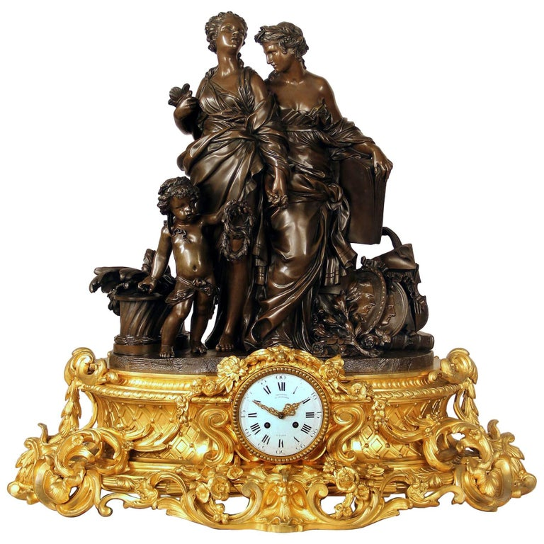 Exceptional Late 19th Century Gilt and Patinated Bronze Figural Clock by Denière For Sale