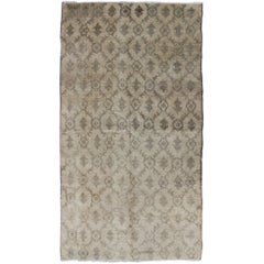 All-Over Design Vintage Turkish Oushak Rug in Shades of Gray, Cream and Taupe