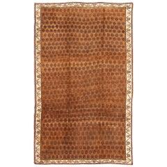 Vintage Turkish Kars Rug with Modern Latticework Pattern in Shades of Brown