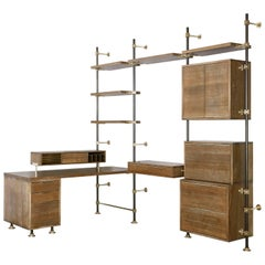 Oak and Brass Desk System with Secretary, Caddy, Storage and Adjustable Shelves