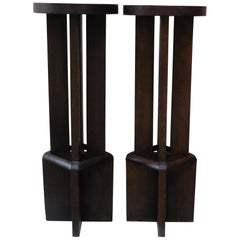 Pair of Art Deco Wood Geometrical Plant Stands