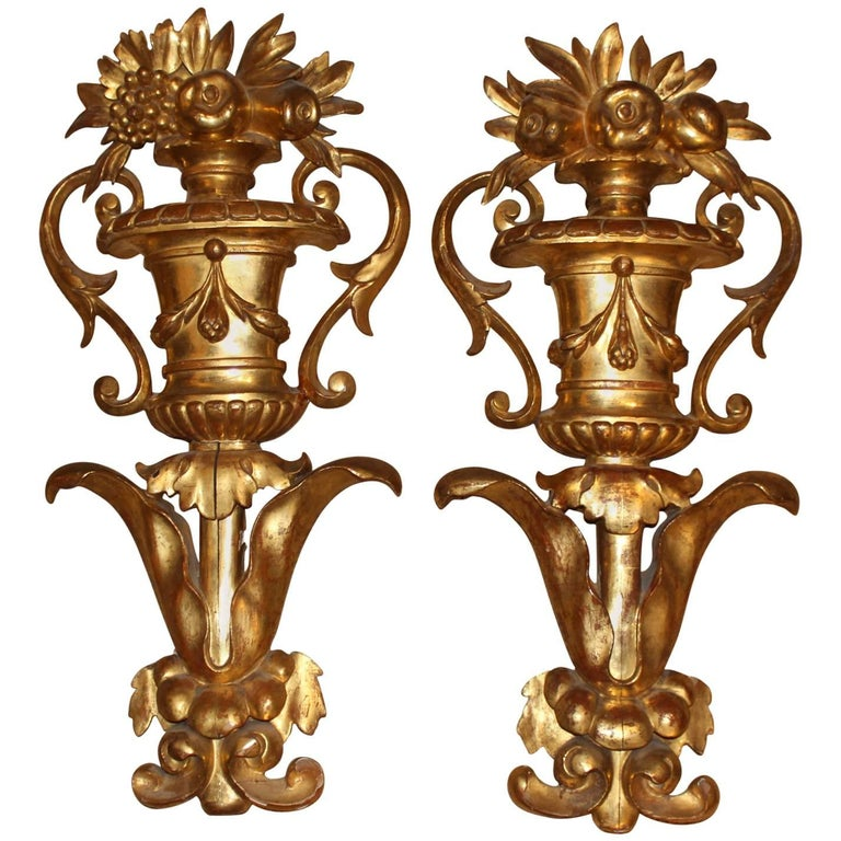 Pair of Continental Wooden Gilt Urn Wall Decorations Architectural Elements