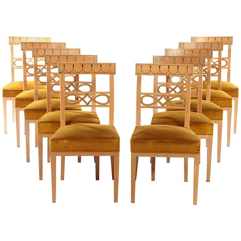 Set of Ten Brass-Inlaid Dining Chairs in the Regency Manner 1