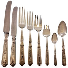 Saint Dunstan Chased by Gorham Sterling Silver Flatware Set 93 Pc Dinner S Mono