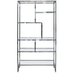 Mid-Century Modern Milo Baughman Chrome & Glass Etagere Shelves, 1970s Greek Key