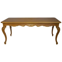 19th Century Antique Italian Louis XV Style Natural Walnut Dining Table Ca 1890