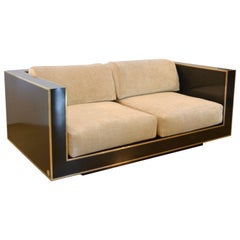 Black and Brass Loveseat, Italy, 1970s, Romeo Rega