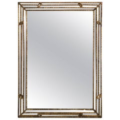 Large Early 20th Century Giltwood Regency Mirror with Mirrored Boarder, Italy