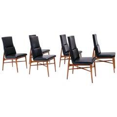 "Six Fred Sandra ""Up 636"" Madison Walnut Dining Chairs for De Coene, 1962"