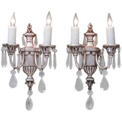 Early 20th Century Italian Neoclassical Silvered Bronze Urn and Crystal Sconces