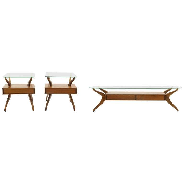 Sculptural Coffee Table And Two End Tables In The Style Of Vladimir Kagan For Sale At 1stdibs