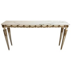 Italian Painted and Parcel-Gilt Neoclassical Console Table with White Marble Top