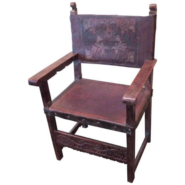 18th Century Embossed Spanish Colonial Chair Haskell Antiques