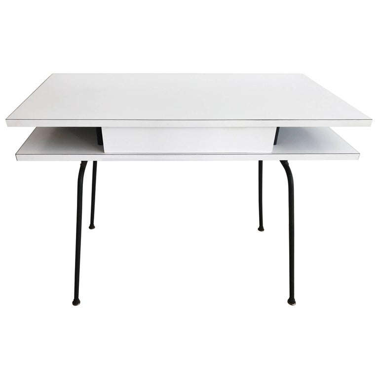 Clifford Pascoe White Laminate Desk With Hairpin Iron Base 1950s For