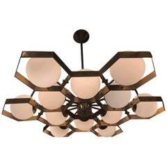 Honeycomb Chandelier Ponti-Inspired with Brass and Frosted Globes