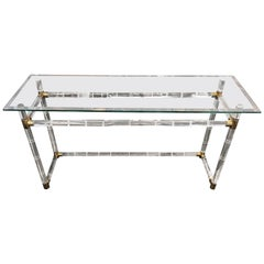Charles Hollis Jones Faux Bamboo Lucite and Brass Console Table
