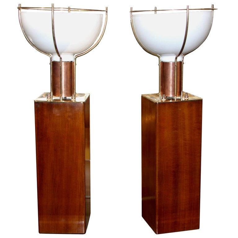 Fabulous Machine Age Lamps in Wood Brass and Copper with Milk Glass Shades For Sale