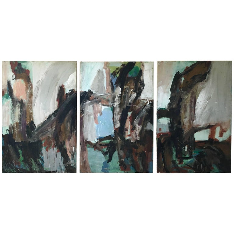 Large Mid-20th Century Abstract Painting Tryptic on Board