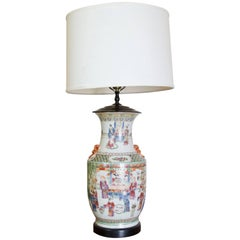 Hand-Painted Chinese Figural Lamp with Foo Lion Detail
