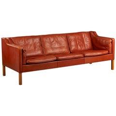 Børge Mogensen Leather Three-Seat Sofa