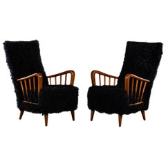 Pair of Paolo Buffa Chairs in Black Kalgan Lamb