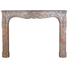 Rouge Marble Louis XV French Mantel