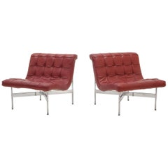 Pair of Laverne Red Leather Lounge Chairs
