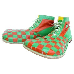 Vintage Brown and Green Check Leather Clown Shoes