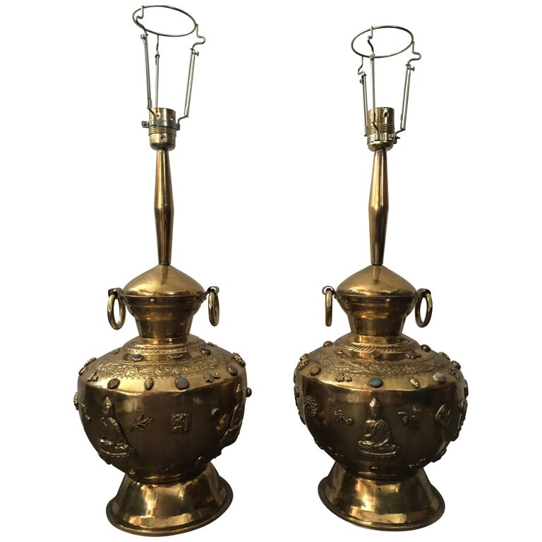 Pair of Large Asian Buddha Brass Precious Stones Decorated Table Lamps For Sale