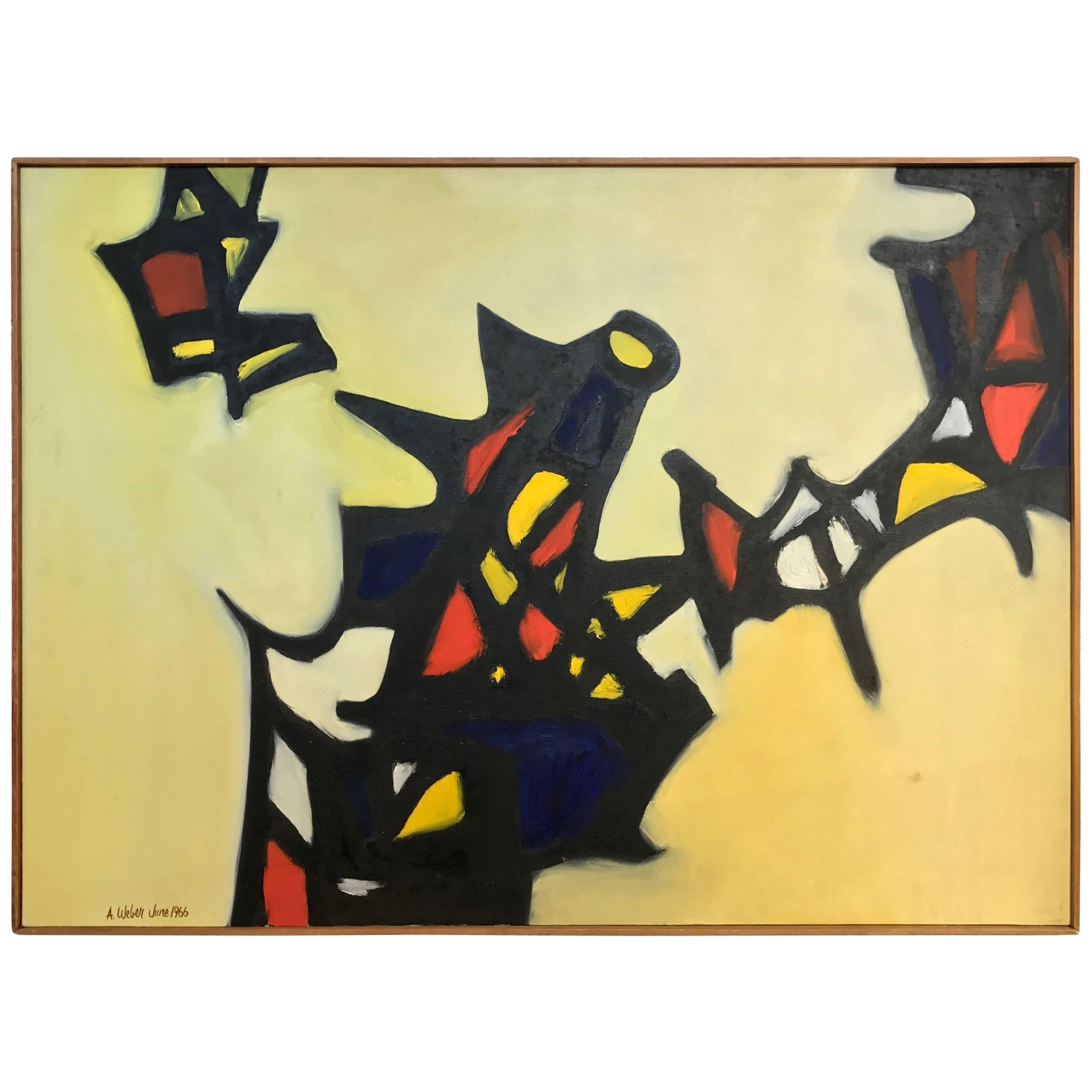 Nice Abstract Painting by the Noted Artist Arnold Weber