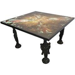 Asian Inspire Coffee Table with Indian God Vishnu on Lotus Stand