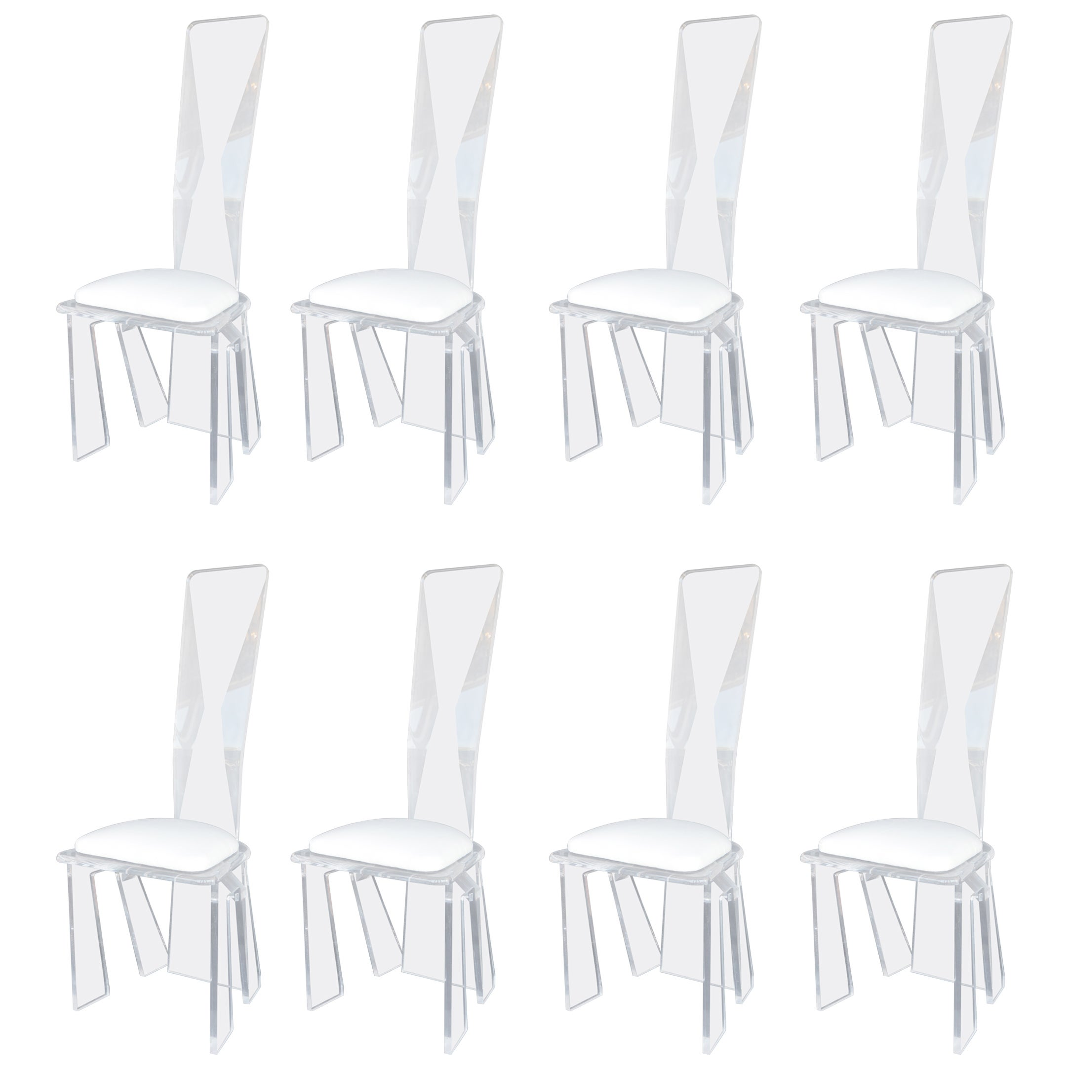 Set of Eight Lucite Dining Chairs