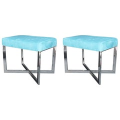 Pair of Blue Suede and Nickel-Plated Stools
